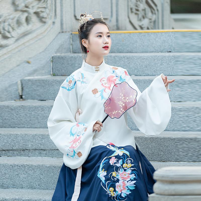 中国风网红同款少女改良汉服双层古装汉元素明制琵琶袖袄裙表演服96.80元包邮
