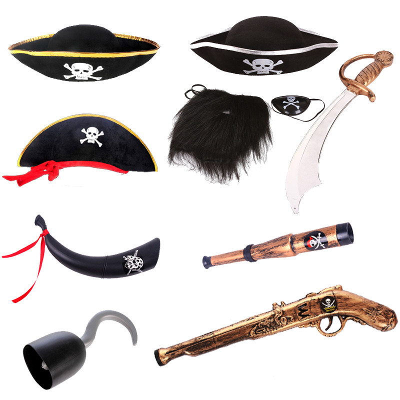Cosplay Halloween pirate hat accessories Caribbean Pirate Hat pirate knife pirate flag pirate eye mask