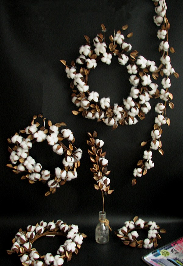 Single export artificial simulation cotton shell and flower ring long rattan branch exclusive home photo setting