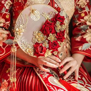 团扇新娘婚礼扇子古风出嫁手捧花扇中式 秀禾服手工喜扇diy材料包