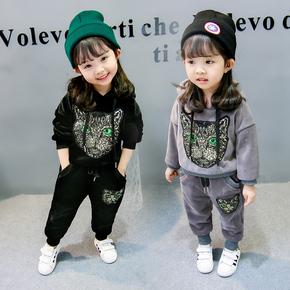 女童双面绒套装宝宝加厚加绒卫衣裤冬装幼儿时尚休闲金丝绒两件套