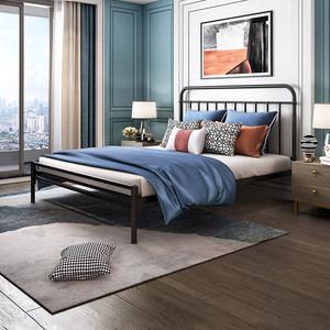 天坛家具铁艺床简约现代双人铁架床1.8米1.5m加厚欧式公主床铁床