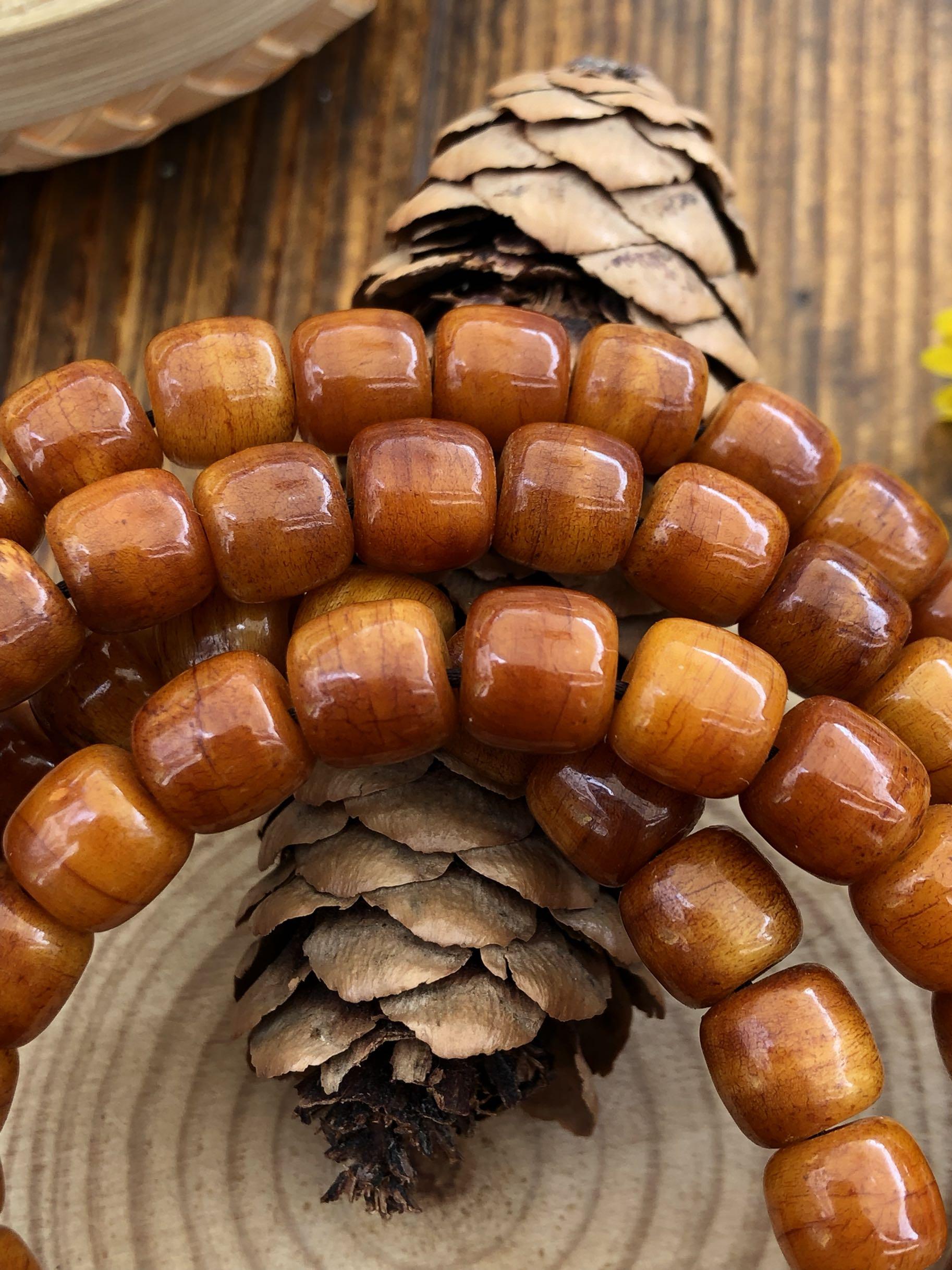 原创108颗牦牛骨佛珠项链手链 搭配南红玛瑙佛头产自西藏本地牛骨