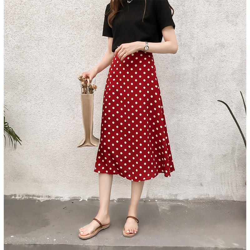 夏装2018新款温柔风波点雪纺半身裙女气质中长款高腰显瘦a字裙子