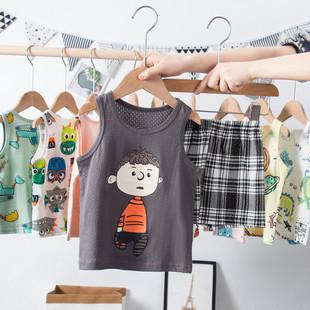儿童网眼背心短裤套装夏季中小男女童运动夏装宝宝无袖纯棉两件套