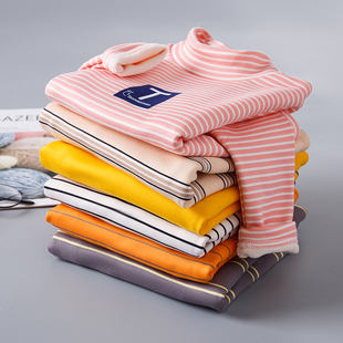 儿童条纹打底衫春秋男女童t恤长袖 宝宝高领加厚加绒冬装保暖上衣