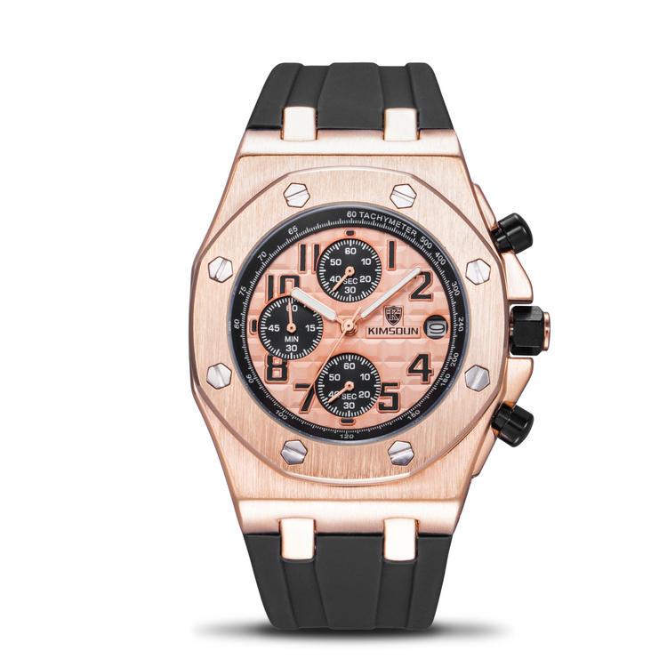 The same oak strap timing watch fashion watch mens Silicone Tape three eye multi-function waterproof quartz watch