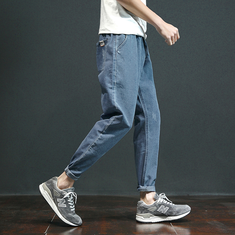 Washed jeans Japanese retro simple legged pants trend thin loose Capris male youth Harun pants trend