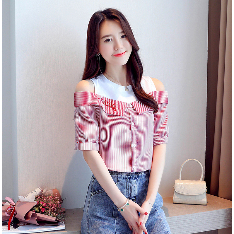 Summer new style small fresh sweet beauty short sleeve Korean fashionable off shoulder net red fake two chiffon shirt STRIPE TOP
