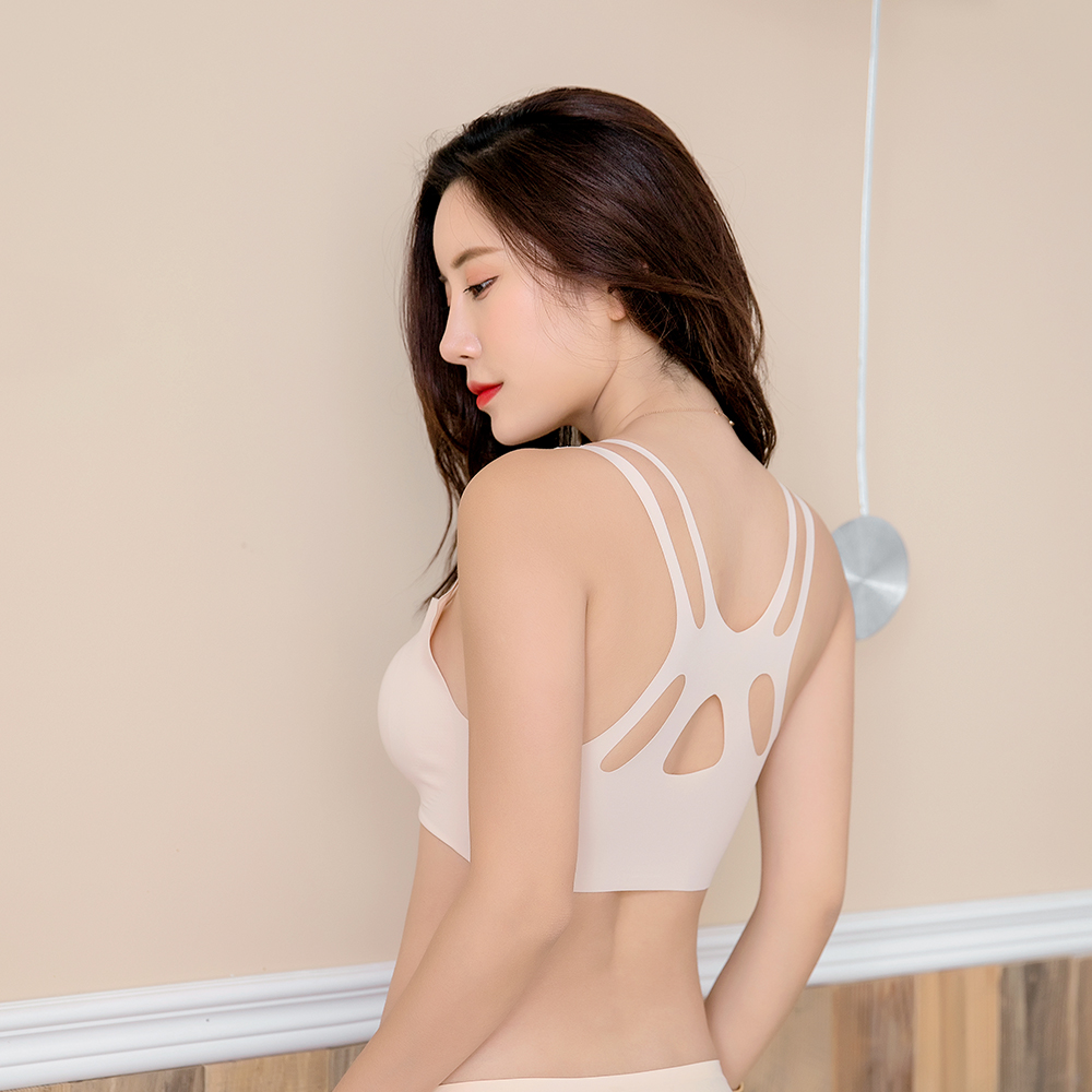 New Thai latex underwear 6.0 rimless comfort one piece sports sleeping womens wireless traceless bra