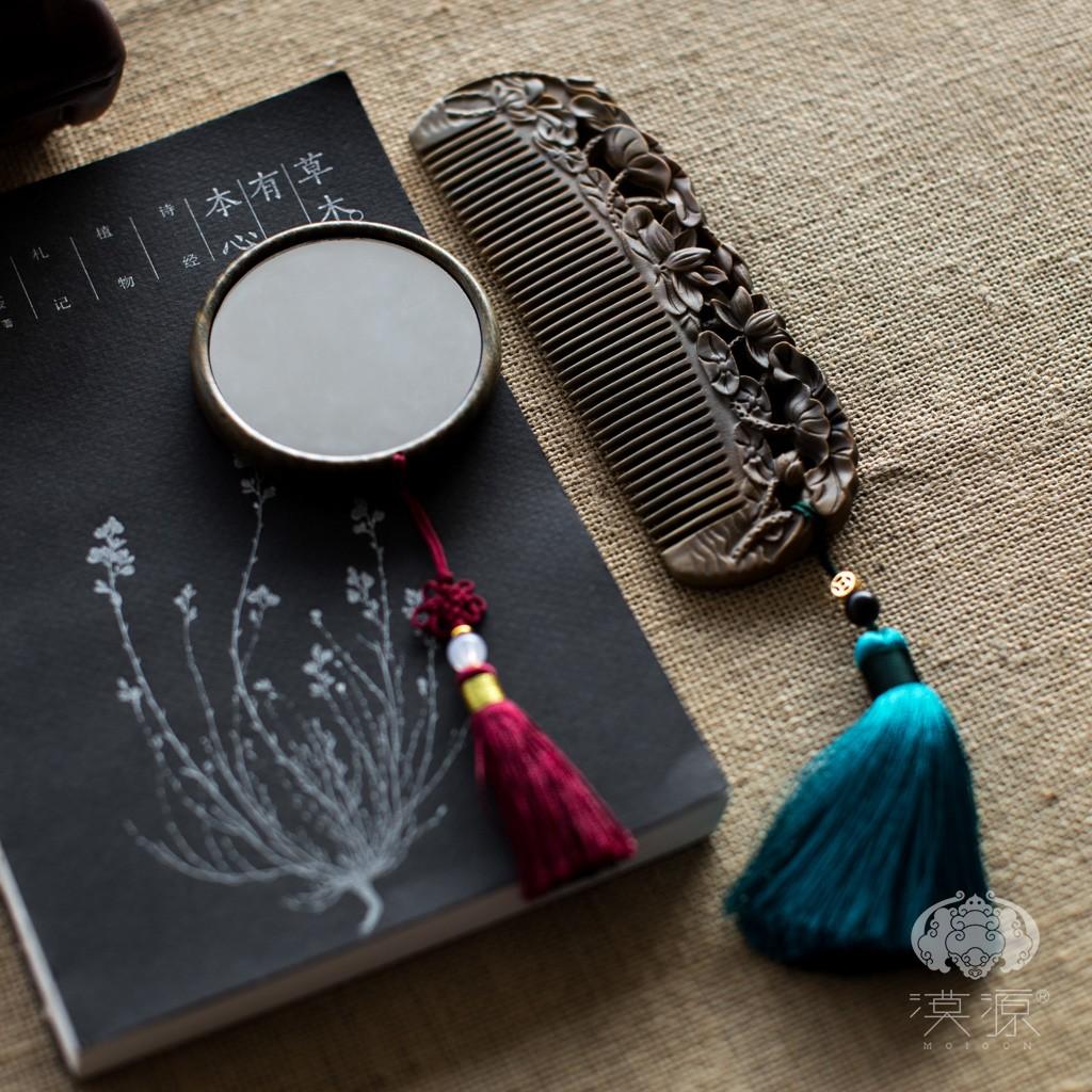 檀香木梳套装天然正品绿檀木梳子古风镜子精品礼物送女士专用长发