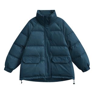 A7seven立領麪包棉服女冬季韓版寬鬆學生長袖加厚小個子黑色棉衣