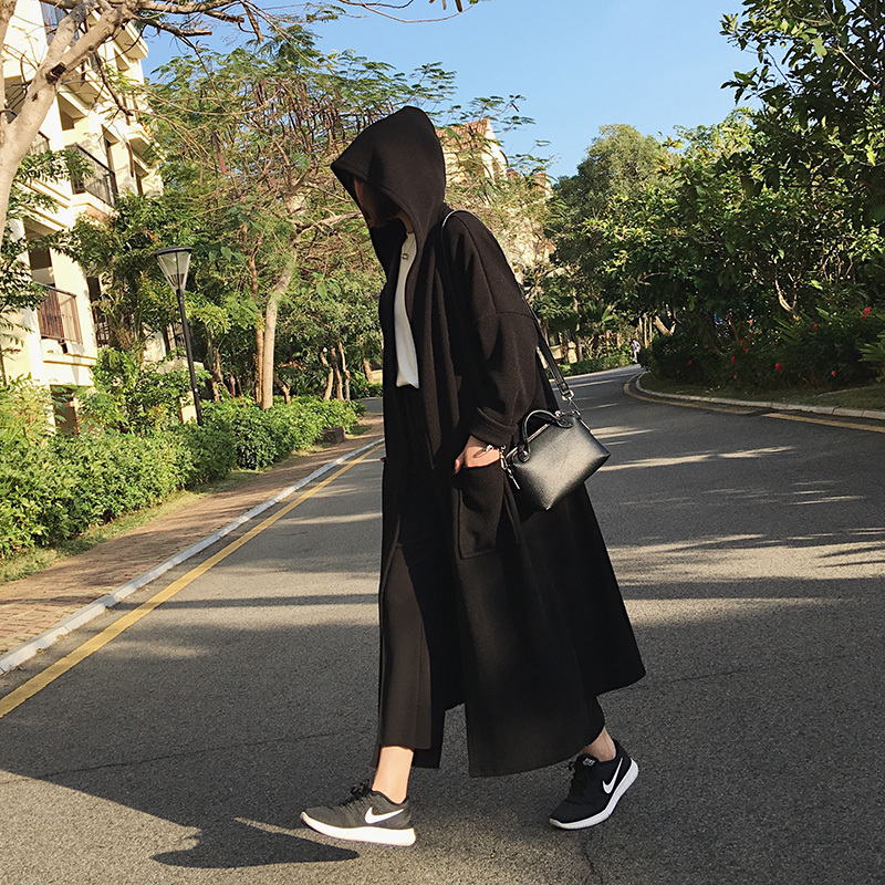 A7seven 中长款连帽风衣外套女2019春夏韩版宽松斗篷式针织开衫潮