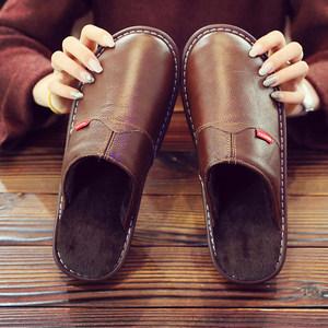 牛皮棉拖鞋居家秋冬季男女士情侣防滑防水牛筋底保暖室内宿舍拖鞋