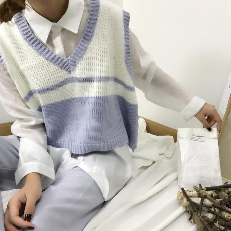 秋冬女装新款韩版宽松短款V领毛衣马甲外套女背心学生针织打底衫