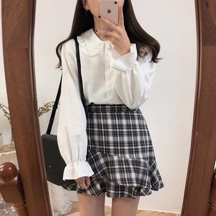 秋冬韩版复古设计感小众港味娃娃领百搭白色长袖衬衫女打底衬衣