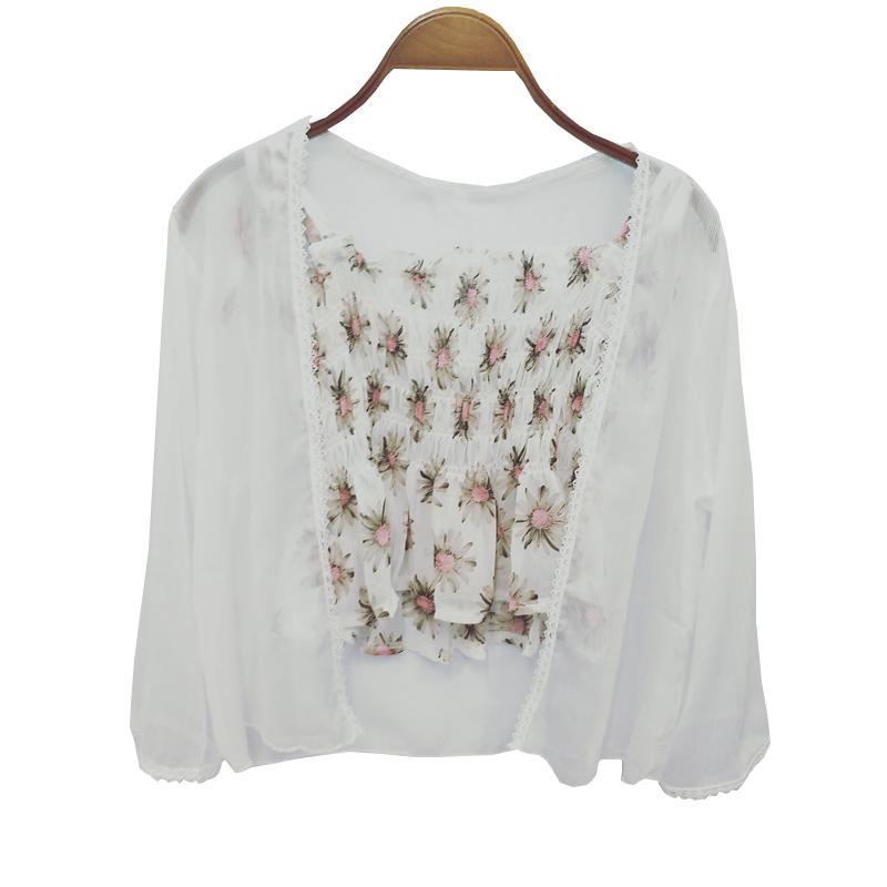 夏季女装碎花小吊带+防晒衣外套女雪纺衫洋气超仙外搭披肩开衫