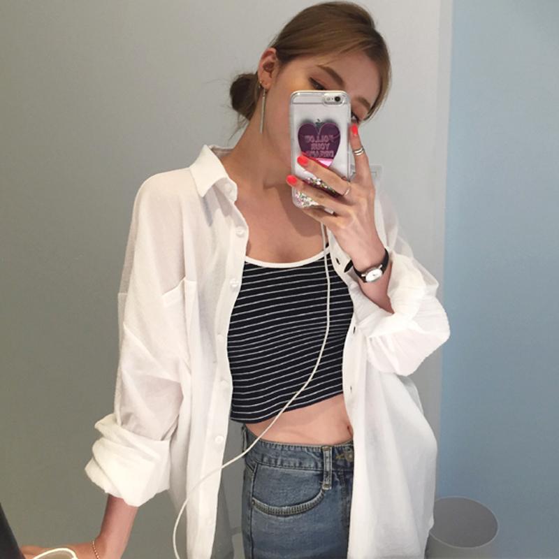 白衬衫防晒衣女2018夏季新款韩版百搭中长款开衫薄款长袖雪纺衬衫