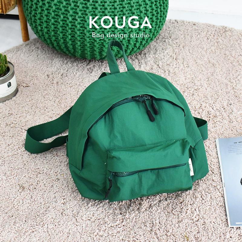 口嘎kouga小巧双肩包 运动纯色简约背包女士可爱书包校园旅行新品