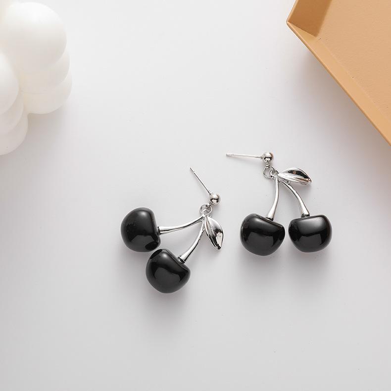 New fashion personality Black Cherry Earrings sweet niche design style interesting lovely fruit Earrings Ear accessories