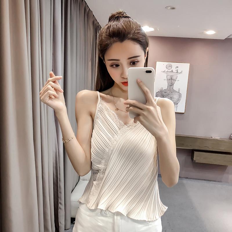 京�|�物商城2018新款春�b蘑菇街淘��美搭夏装百搭女装钩花蕾丝V