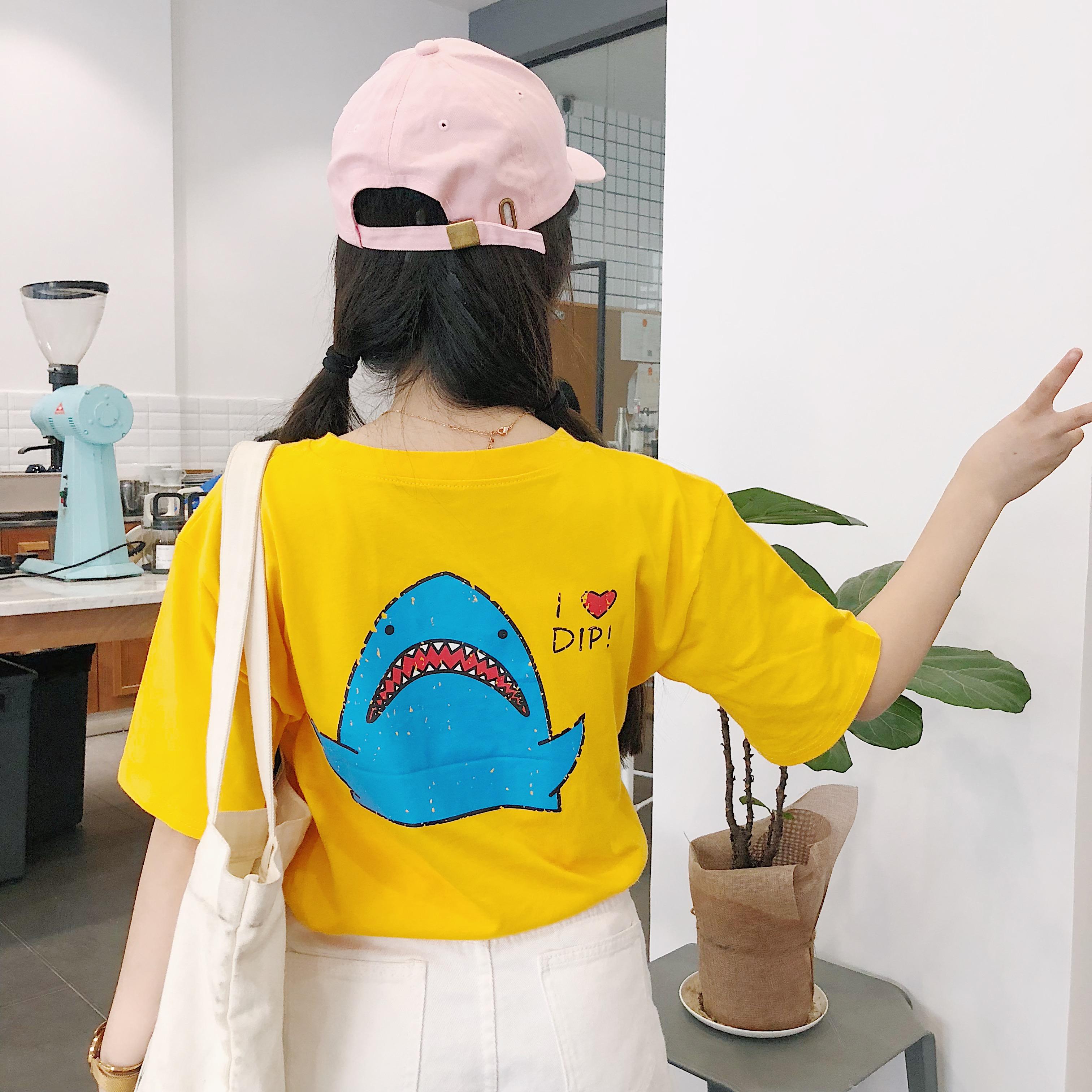 可可里小姐店铺酷酷的女装卡通童趣字母短袖学生韩国宽松bf潮流夏