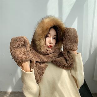 冬季手套一体韩版可爱保暖套帽围巾