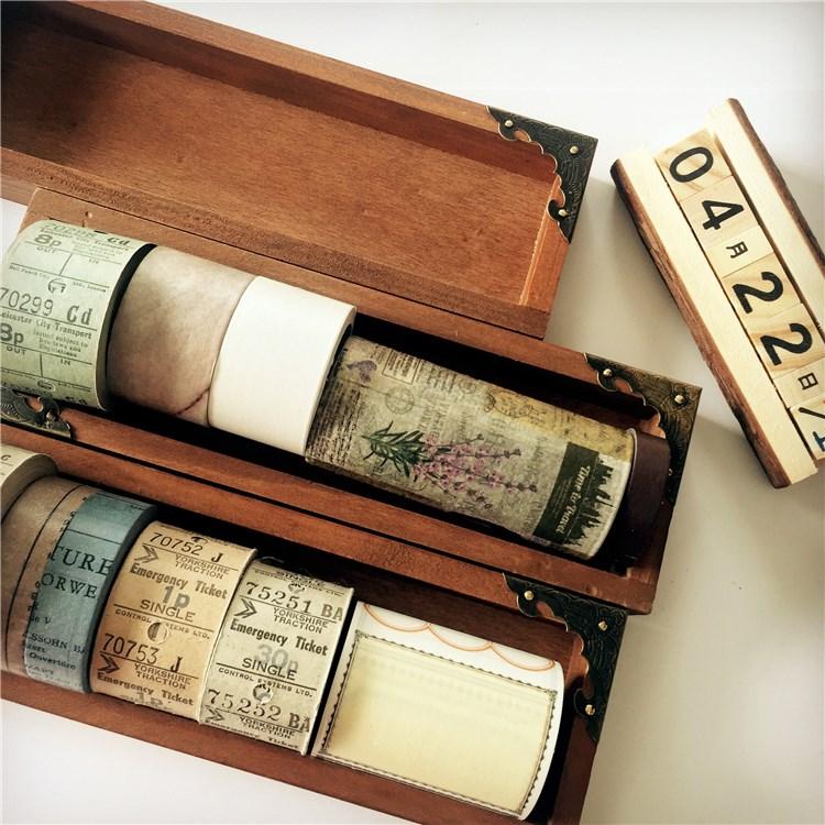 复古木质和纸胶带收纳盒桌面文具风做旧长方形长条木盒开口