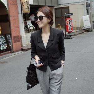2019春夏季韩版新款女装薄款短外套女 亚麻棉麻料修身小西装女