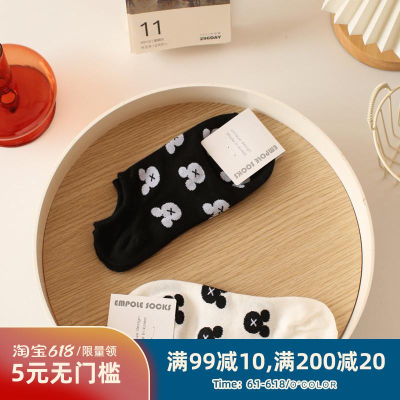 米吉诺拉/韩国外贸女学院风卡通船袜子学生小熊ins潮运动吸汗短袜