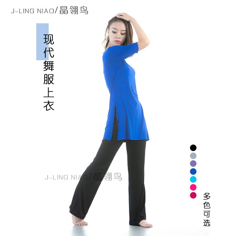 舞蹈服装现代舞服女成人舞蹈上衣长袖圆领现代舞练功服古典舞上衣