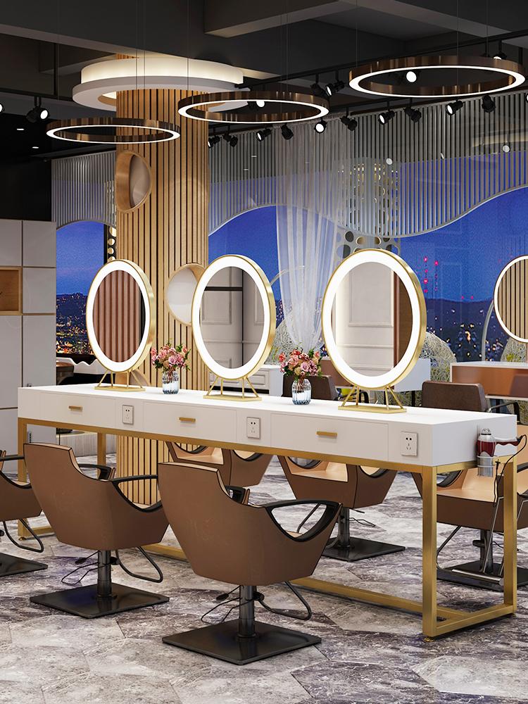 台式桌面带灯LED梳妆镜圆发光美发理发店发廊美容化妆镜双面镜子