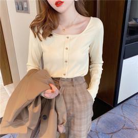 长袖t恤女2020年新款纯色薄款打底衫纯棉短款修身方领上衣ins