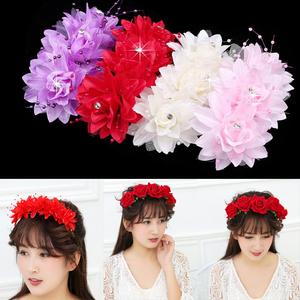 森系水钻花朵演出汉服发饰绒布玫瑰花环发箍海边拍照头箍发梳插梳