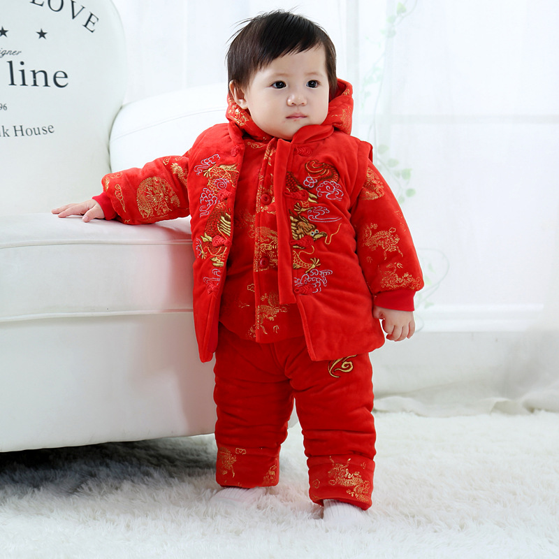 Childrens Tang and winter suede suit new years greetings cotton coat Chinese style three piece suit vest top pants men