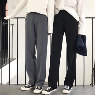 垂感墜感闊腿褲女秋冬大碼高腰拖地褲工裝西裝褲寬鬆休閒直筒長褲