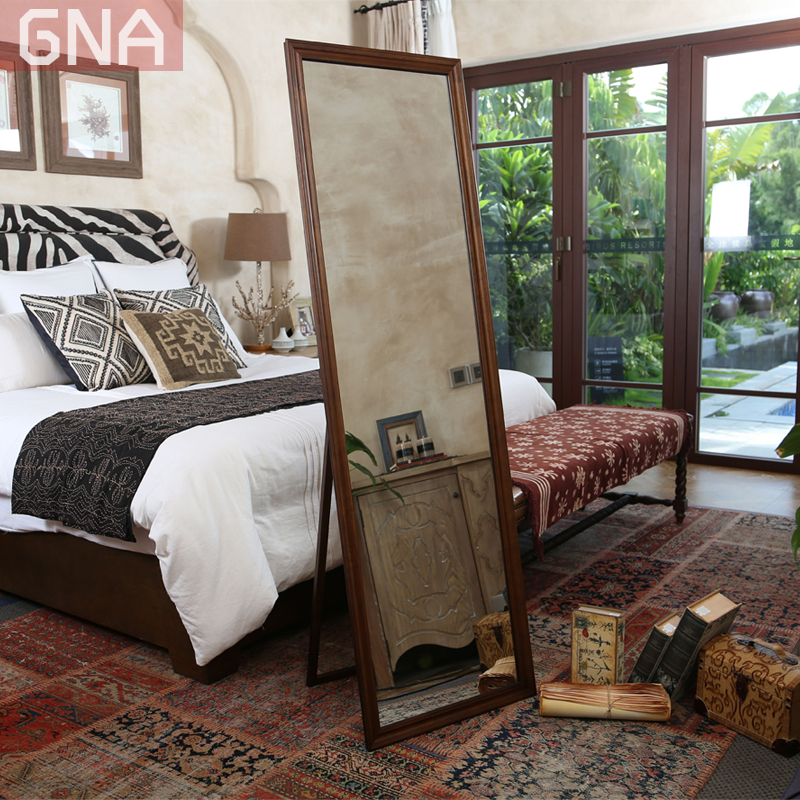 Environmental protection Nordic IKEA solid wood oak bracket wearing mirror landing full body mirror clothing store make up mirror wall mounted mirror