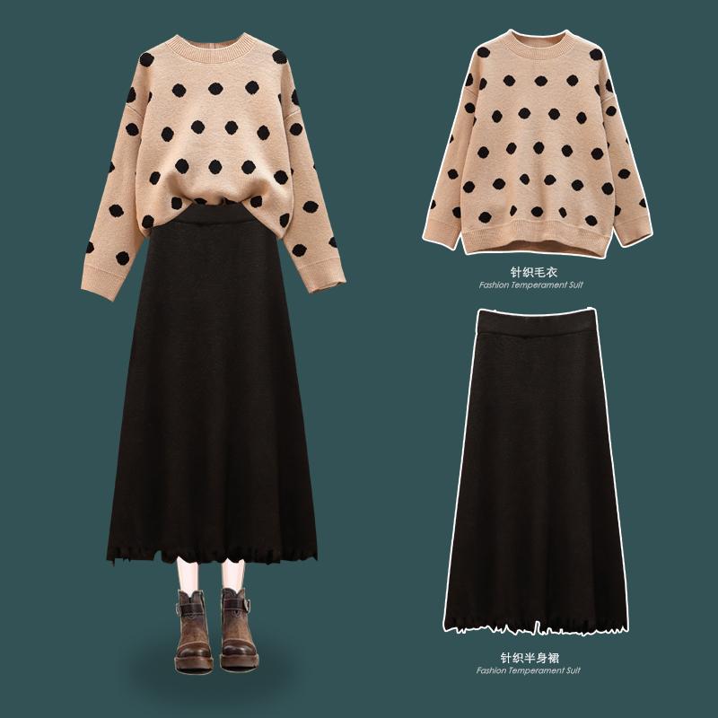 大碼女裝胖mm200斤冬季新款顯瘦套裝時尚減齡加厚毛衣兩件套裝