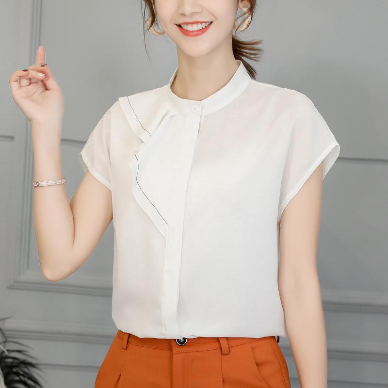 实拍2020春夏新款韩版大码显瘦时尚衬衣女百搭衬衫夏季女式雪纺衫