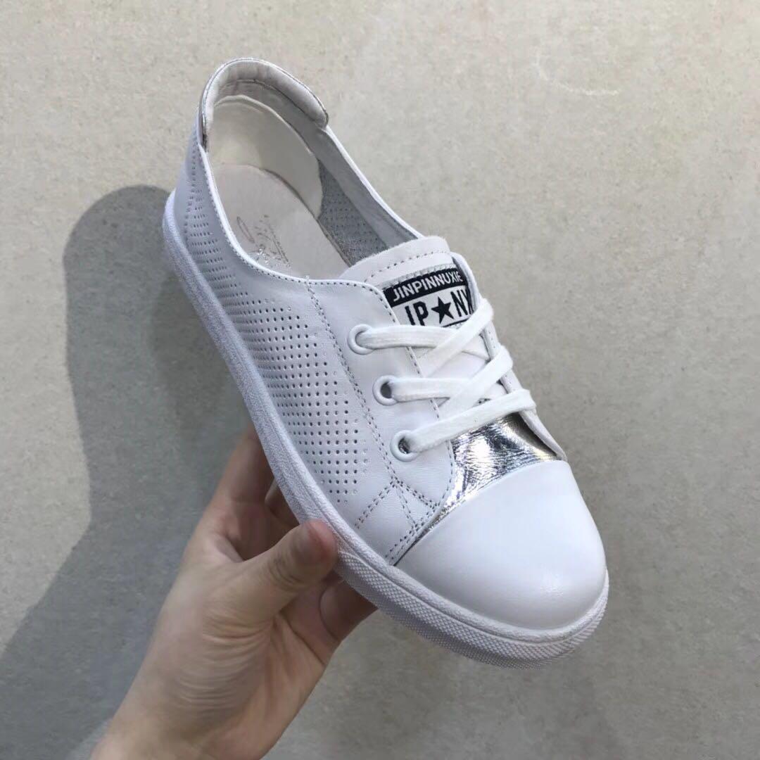 足间蝶舞2018夏新款正品真皮小白鞋休闲透气舒适女鞋918-98