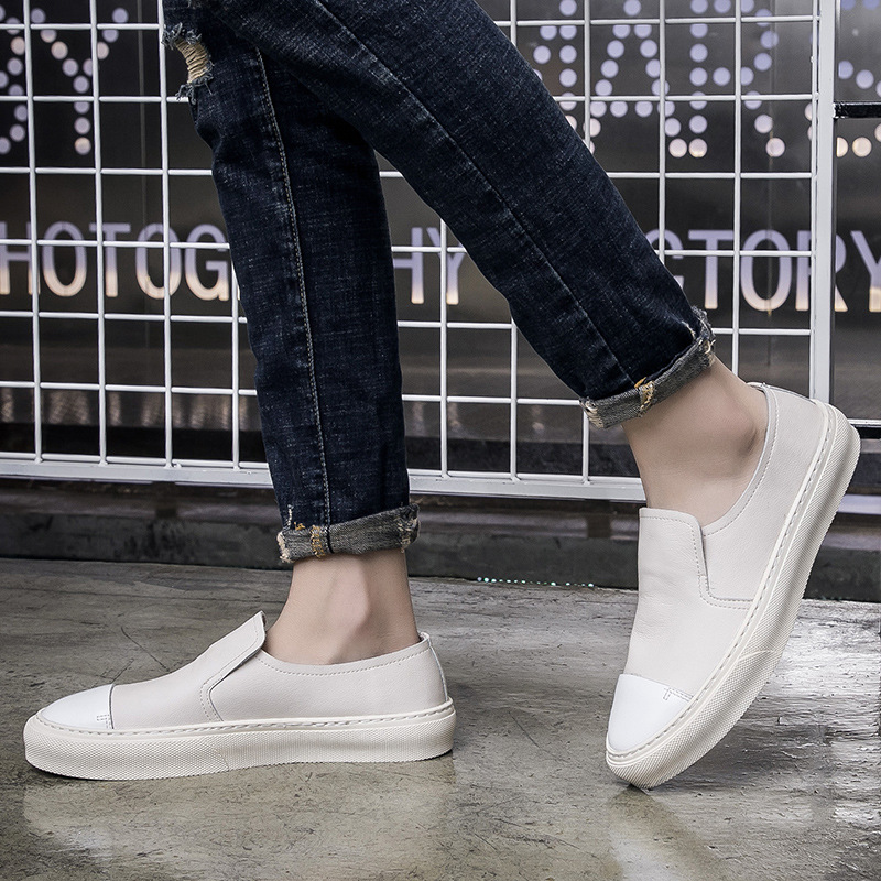 Buffny spring new mens comfortable small white shoes fashion one foot lazy shoes Korean low top leather shoes 217