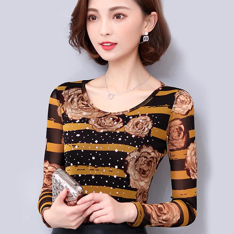 秋冬季保暖内衣女士加厚加绒紧身美体上衣单件外穿网纱打底衫薄款