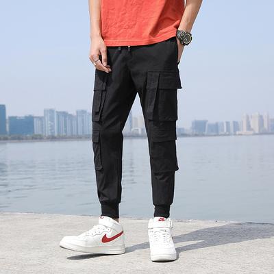 夏季港风中性工装裤男九分宽松休闲裤飘带韩版九分裤K22/P65