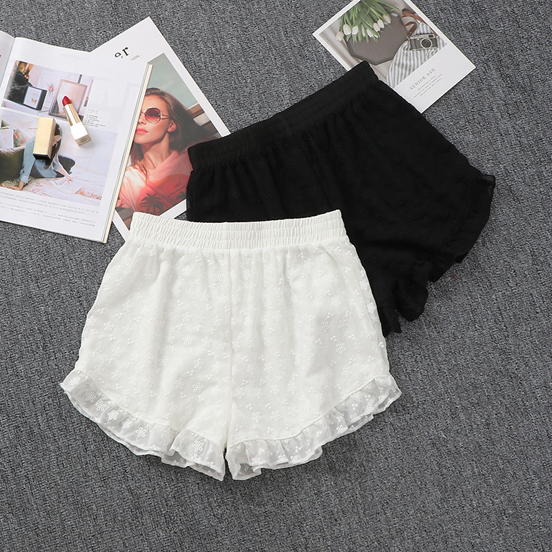 少女白色外穿安全裤防走光蕾丝花边打底短裤三分裤女士保险裤薄款