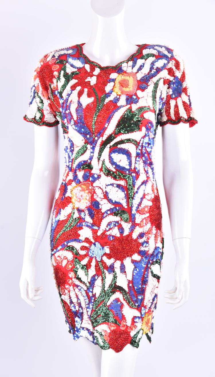 【千姿阁】美国vintage万紫千红亮片钉珠精美时尚短袖礼服连衣裙