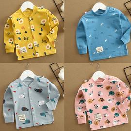 秋冬季儿童肩扣t恤长袖纯棉婴幼儿开衫单件秋衣男女童宝宝打底衫图片