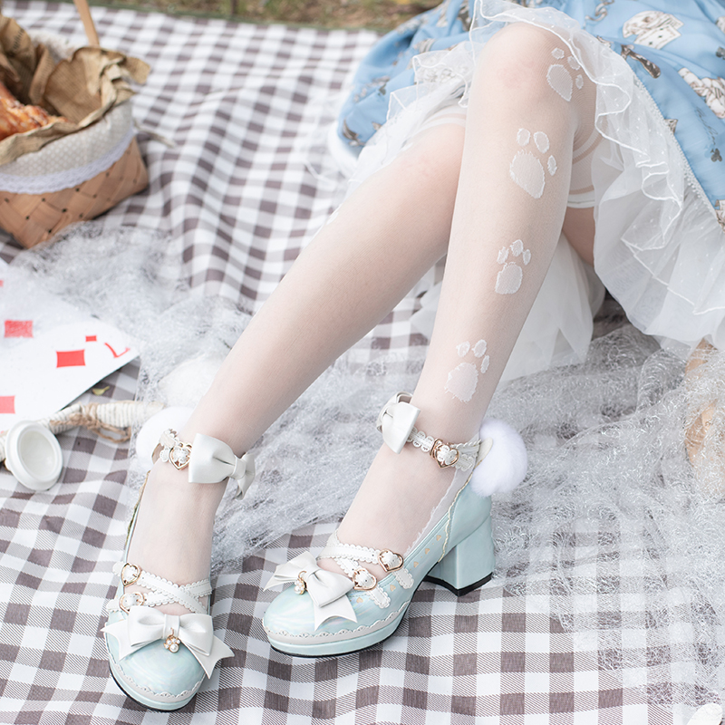 [crossing South Star] authorized original Lolita shoes Miss panda rabbit ear cute middle heel in stock