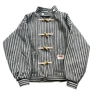 五叔叔原創設計 古着感少女條紋牛角扣寬鬆厚款飛行棉服工裝外套