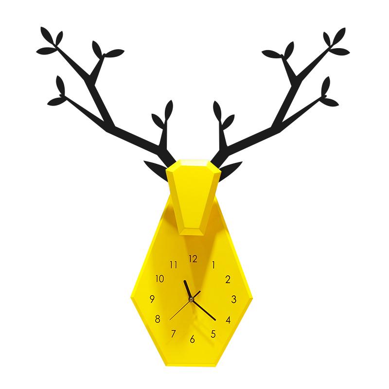 北欧鹿钟表挂钟客厅创意挂墙家用现代简约时尚个性大气静音挂表