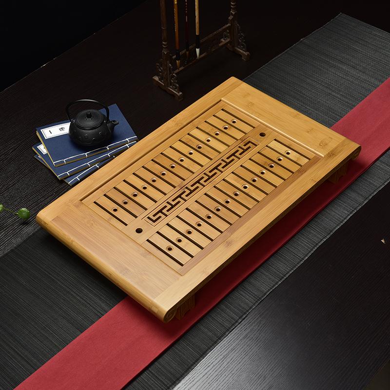竹製茶盤排水抽屜式茶海儲水茶台平板功夫茶具茶盤盛水大小號托盤